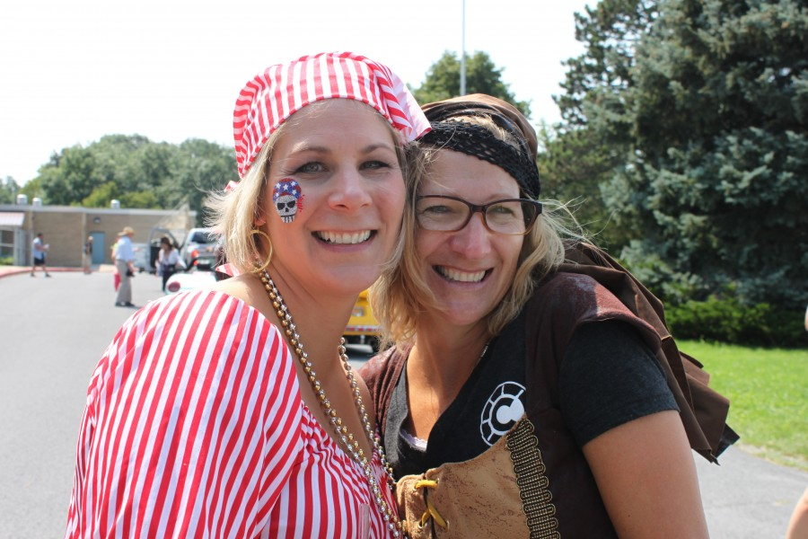 Two woman in pirate costumes