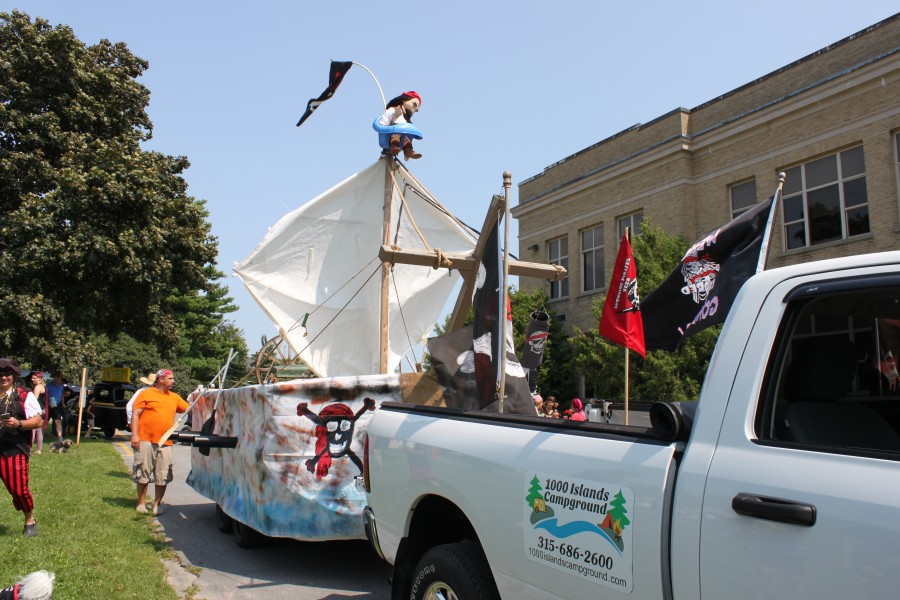 1000 Islands Campground truck towing pirate boat