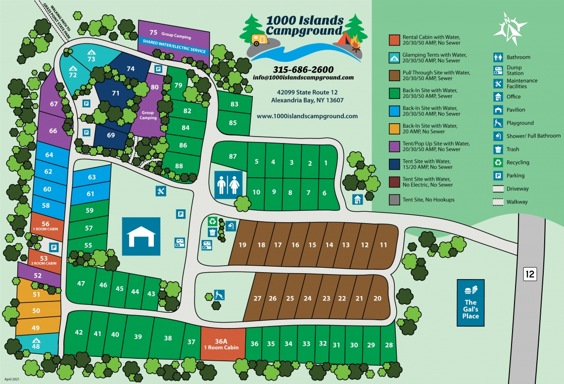1000 Islands Campground Site Map