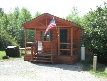 Log cabin with American flag on outside